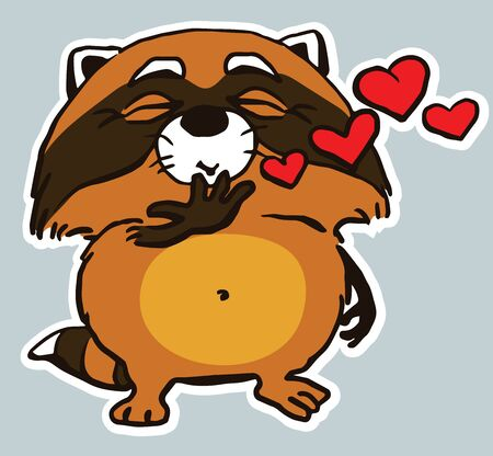 love symbols: Cartoon. Vector. Characters.  Isolated objects. Icon sticker funny raccoon sending a kiss. Illustration