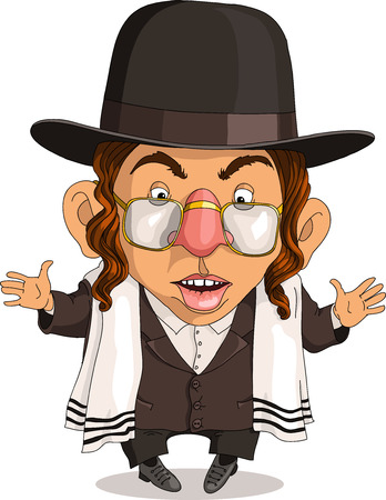 travesty: Vector. Funny Jew. Travesty cartoon. Characters. Isolated objects.