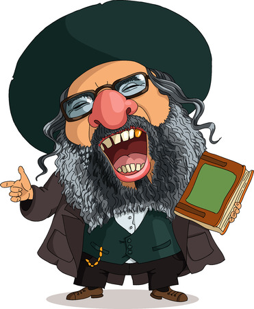 rabbi: Vector. Funny Jew. Travesty cartoon. Characters.  Isolated objects. Illustration