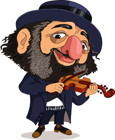 Vector. Funny Jew. Travesty cartoon. Characters.  Isolated objects. Illustration