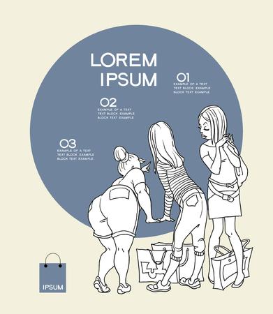 personal shopper: informgrafika  girl looks in the window Illustration