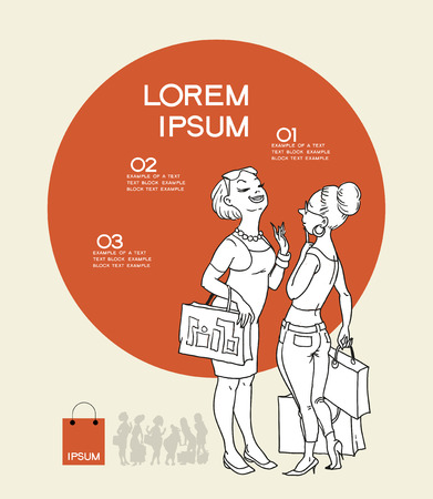 personal shopper: Infographics background shopping. Cartoon girls on the background of the circle and the text