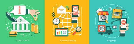 Flat vector illustration of bisines idea, banking system, tnternet banking, use of bank, e-shopping, Contact Center