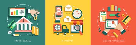 通信: Bisines アイデア、金融システム、銀行、電子ショッピング、会計 tnternet のフラット ベクトル イラスト。