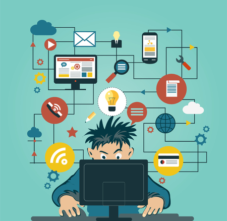 A man at the home computers surrounded by icons. Concept of communication in the network Illustration