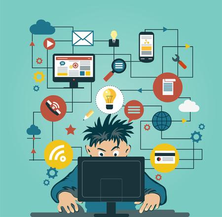 infraestructura: Un hombre en los ordenadores domésticos rodeado de iconos. Concepto de la comunicación en la red