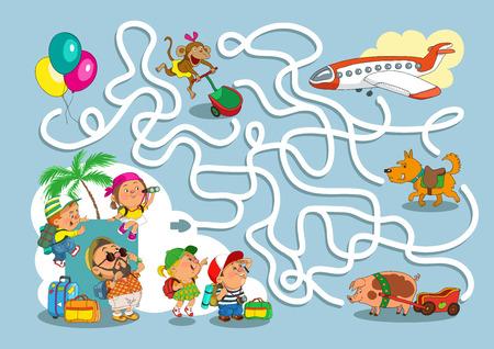 cartoon child: Game-maze for children. Funny cartoon. Illustration