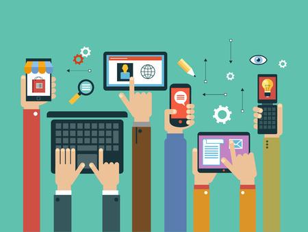 mobiele apps concept. Mobiele apps concept. Platte ontwerp vector illustratie. Menselijke hand met mobiele telefoon, tablet, laptop en interfacepictogrammen