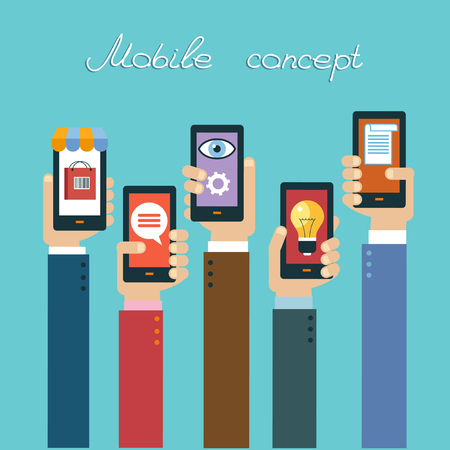 Mobile apps concept. Flat design vector illustration. Human hand with mobile phone and interface icons 일러스트