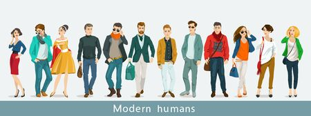 Vector illustration. A group of modern people. Communication Çizim