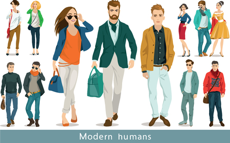 woman looking up: A group of modern people.  Set of vector illustrations. Isolated objects.