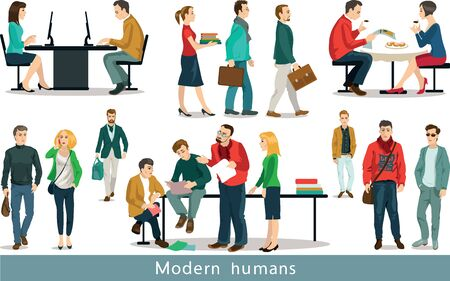 woman looking up: Group of modern people working in the office.  Set of vector illustrations. Isolated objects.