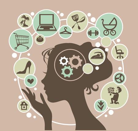 Głowa młodej kobiety współczesnej i jej myśli. Ilustracje wektorowe