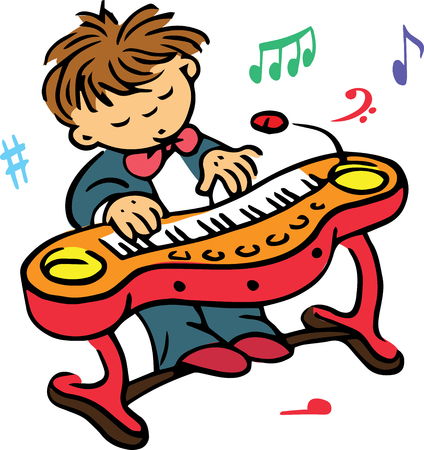 clavier: Hand drawn. Vector illustration. The boy who plays on the clavier.