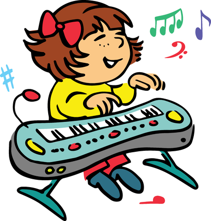 clavier: Hand drawn. Vector illustration.The girl who plays the piano.