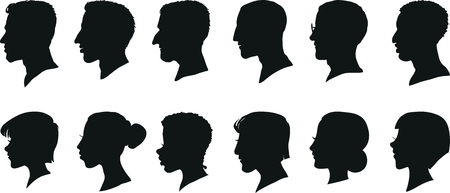 one man only: Portraits of men and women in profile, isolated silhouettes. Set of vector illustrations.