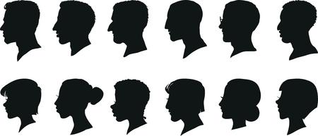 Portrety kobiet i mężczyzn w profilu, samodzielnie sylwetki. Zestaw ilustracji wektorowych.