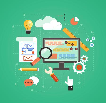 flat design concept of programmer workflow for web coding Illustration
