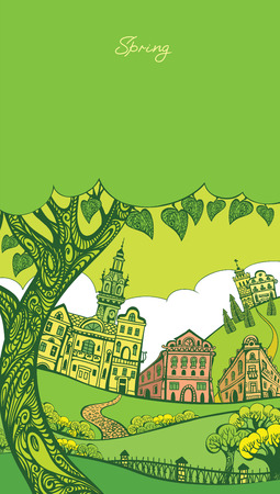 dormer: Vector illustration. Spring town. Graphic drawing by hand. Decorative card.