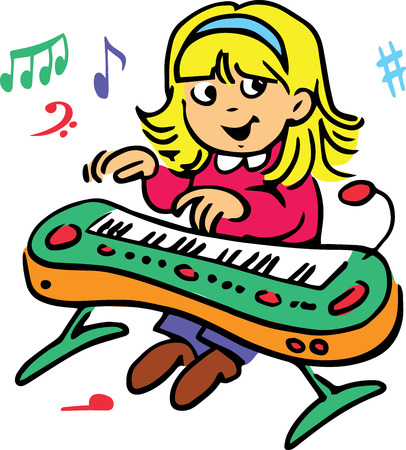 clavier: Hand drawn. Vector illustration.The girl who plays the piano