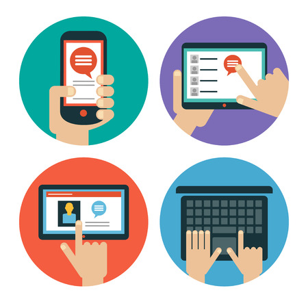 touching: Modern flat icons. Set of hands touching tablet, laptop and smart phone. Isolated on white background.