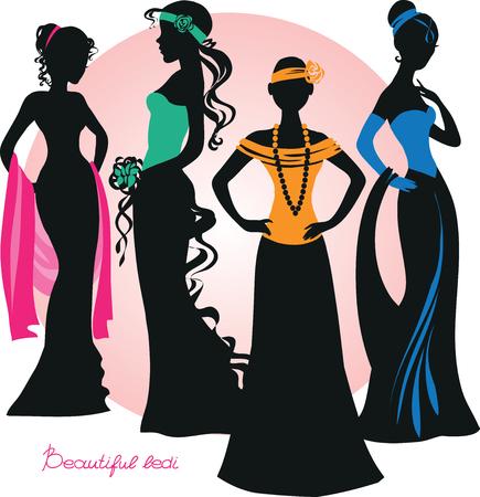 Silhouette der schönen Mädchen in eleganten Kleidern. Vektor-Illustration. Isolierte Objekte.