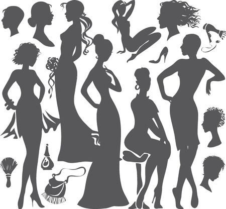 Portraits und Silhouetten von schönen Mädchen. Vektor-Illustration. Isolierte Objekte.
