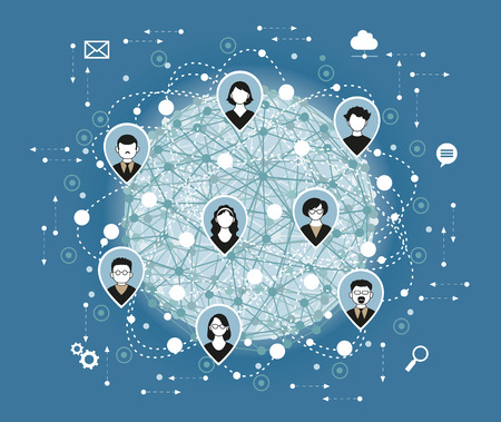 Illustration, Vector. Social media network connection concept.
