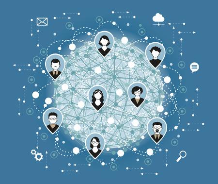 Illustration, Vektor. Social-Media-Netzwerk-Anschluss-Konzept. Illustration