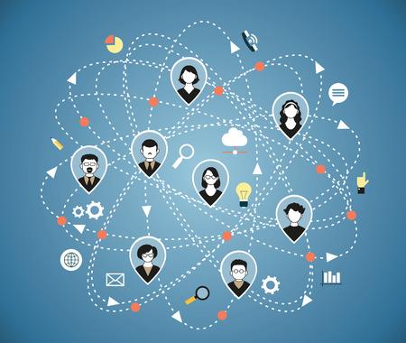 通訊: Illustration, Vector. Social media network connection concept.
