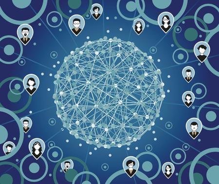 network connection: Illustration, Vector. Social media network connection concept. Communication social background.