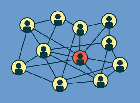 redes de mercadeo: Círculos de medios sociales, red Ilustración, Vector, Icono