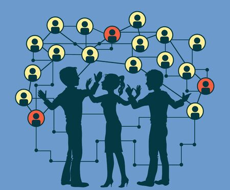 silhouettes of people on a background of the icons Social Media Circles. Network Illustration. Vetores