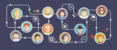 Social Media Circles, Network Illustration, Vector, Icons and avatars