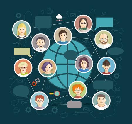 Social Media Circles, Network Illustration, Vector, Icon