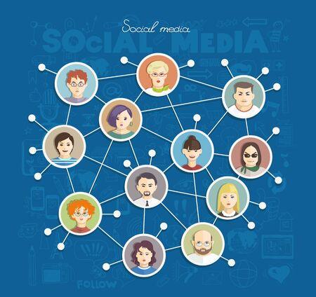 Social Media Circles, Netzwerk Illustration, Vektor, Symbole mit Porträts von Männern und Frauen.