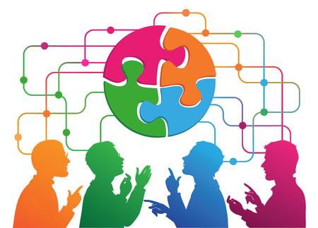 Social Media Circles, Netzwerk Illustration, Vektor.