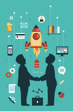 Vector Konzepte und Symbole in flachen Stil - Start und Innovation Business-Zeichen und Symbolen. Starten und starten.
