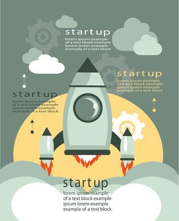 Vector Konzepte und Symbole in flachen Stil - Start und Innovation Business-Zeichen und Symbolen. Starten und starten. Business-Infografiken Vorlage beginnen. Mit einem erwarteten Text.