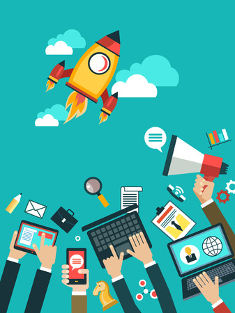 Vector concepts and icons in flat style - start up and innovation business signs and symbols. hand of man with a laptop, mobile phone, megaphone. Aspiring to the launch startup.