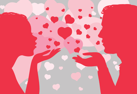 Vector illustration. Silhouette of man and woman with a heart on the hands. St. Valentines Day.