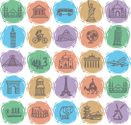 hand drawing. Set travel icons