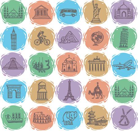 Handzeichnung. Set Reise-Ikonen Illustration