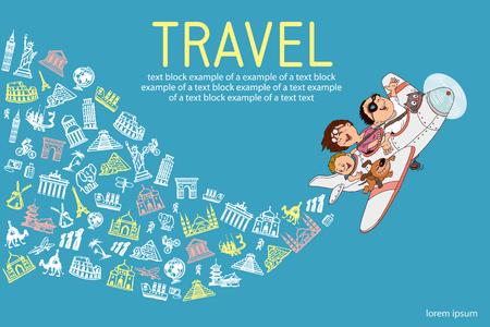 Infografiken. Cartoon-Familie, in einem Flugzeug zu fliegen. Jeder ist glücklich und fröhlich. Handzeichnung. Set Reise-Ikonen.