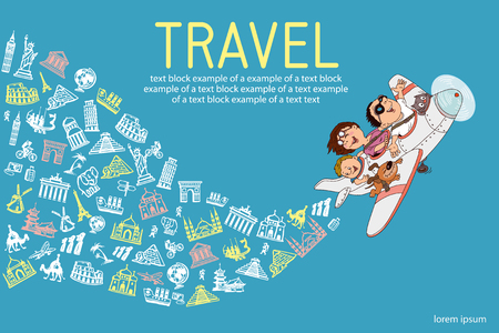 infographics. Cartoon family, flying on an airplane. Everyone is happy and cheerful. hand drawing. Set travel icons. Illustration