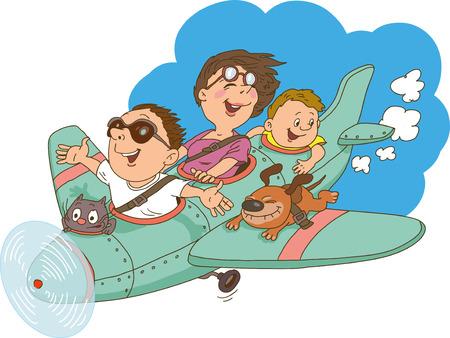 familia de dibujos animados, volando en un avión. Todo el mundo está feliz y alegre. Ilustración de vector