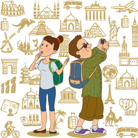 travel woman: Cartoon tourists. A man photographed by the camera. Girl looks. Travel icons on the background.