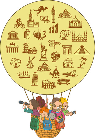 balloon cartoon: Cartoon family that travels in a balloon. Hand drawing. Set travel icons. Illustration