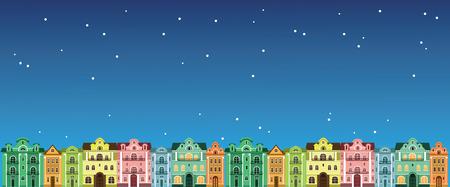 case colorate: case colorate di notte. illustrazioni vettoriali. case di città colorate nel cielo notturno. Vettoriali