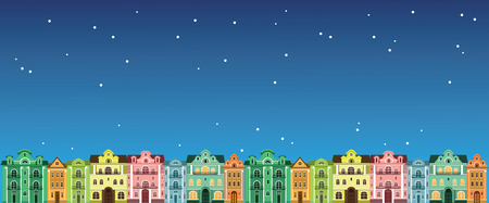 colorful houses at night. Vector illustrations. Colored town houses in the night sky. Çizim